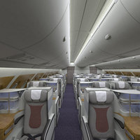 3D a380 business cabin section