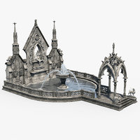 3D gothic fountain 02 model