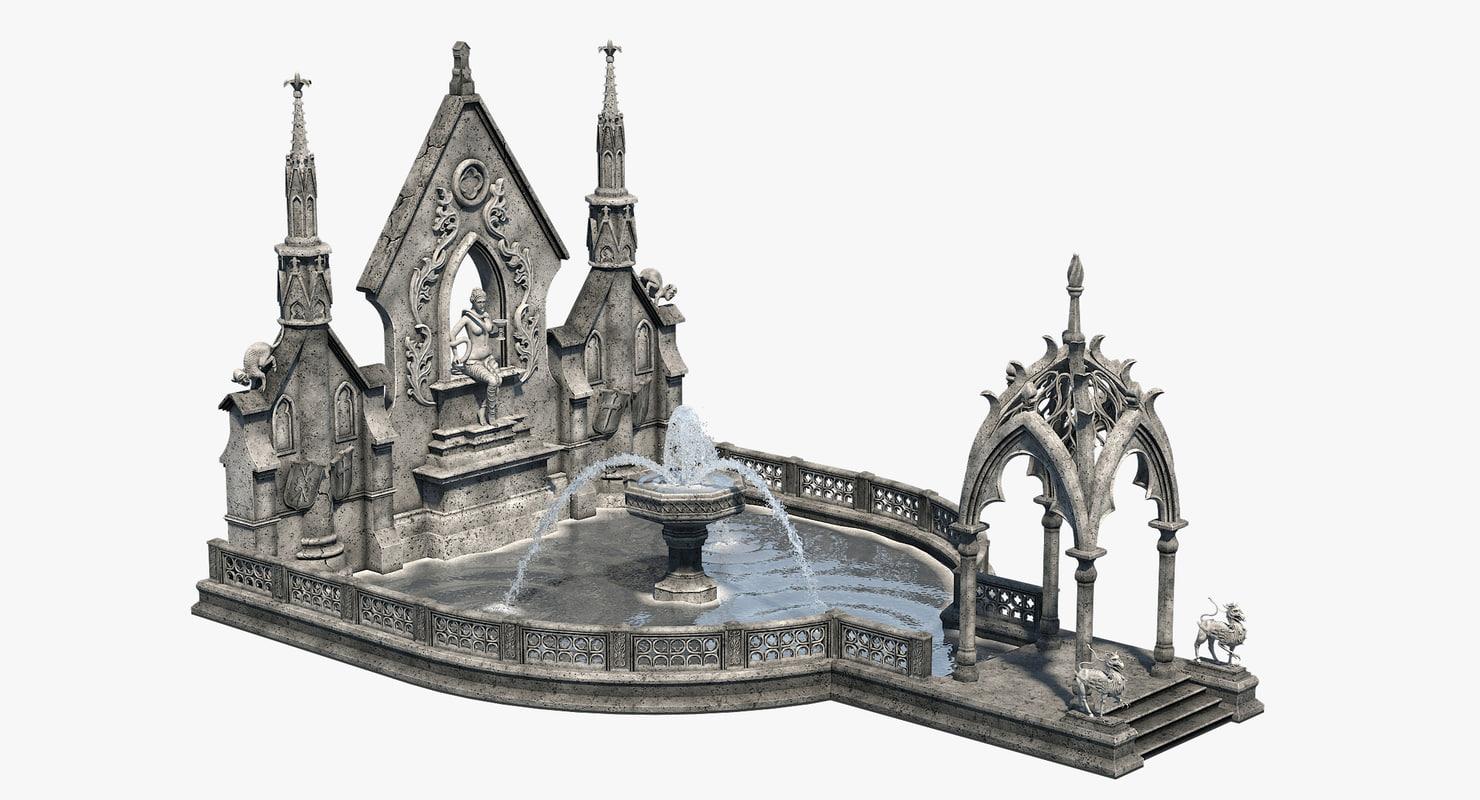3D gothic fountain 02 model