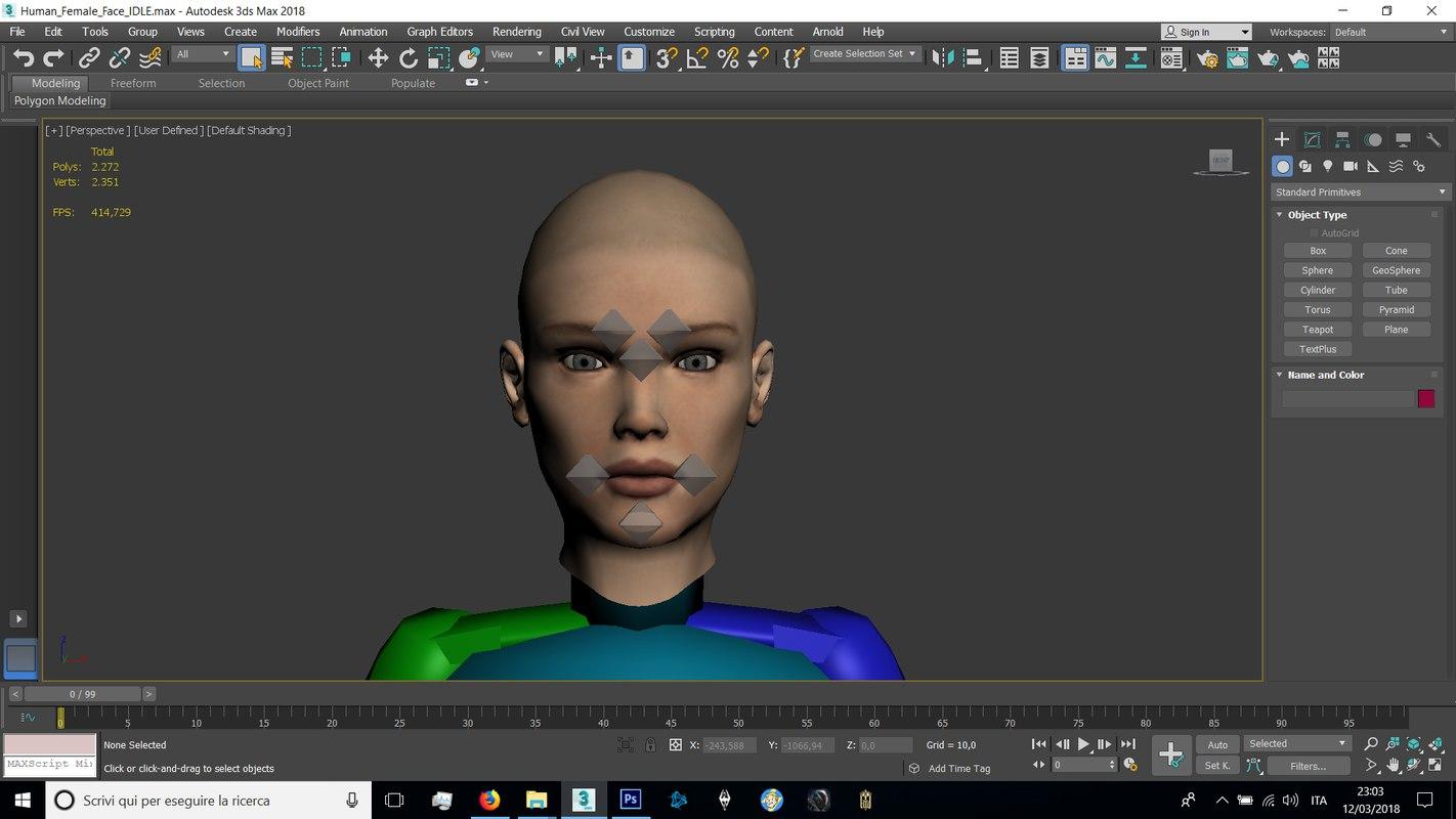 3D human female head model