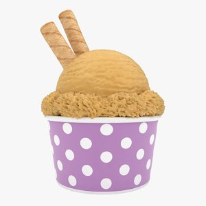 3D model realistic ice cream cup