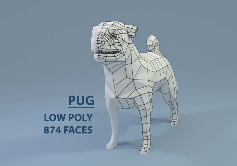 pugs dogs 3D model