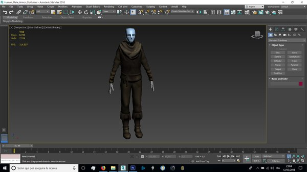 3D human male farmer model