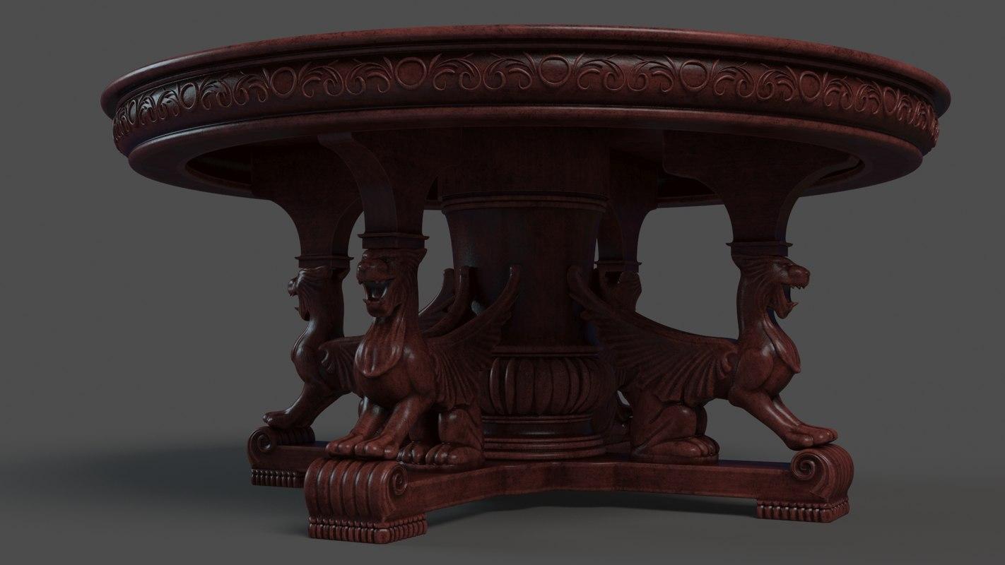 3D model classic antique table griffins