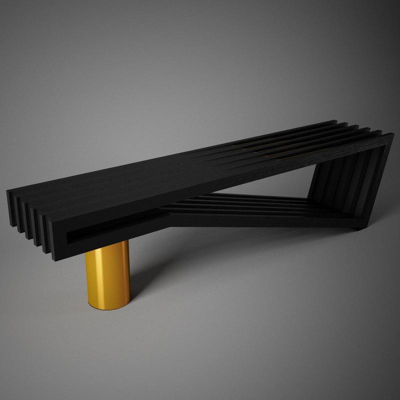 pinch noir bench seat 3D