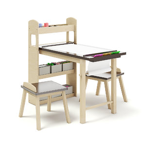 3D drawing desk stools kids model