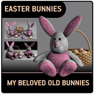3D cute easter bunnies