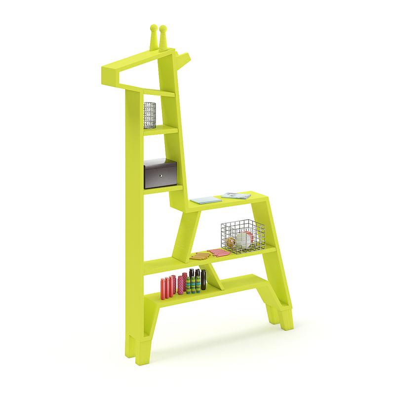3D green giraffe shape shelf model