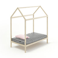 3D model wooden house shape bed