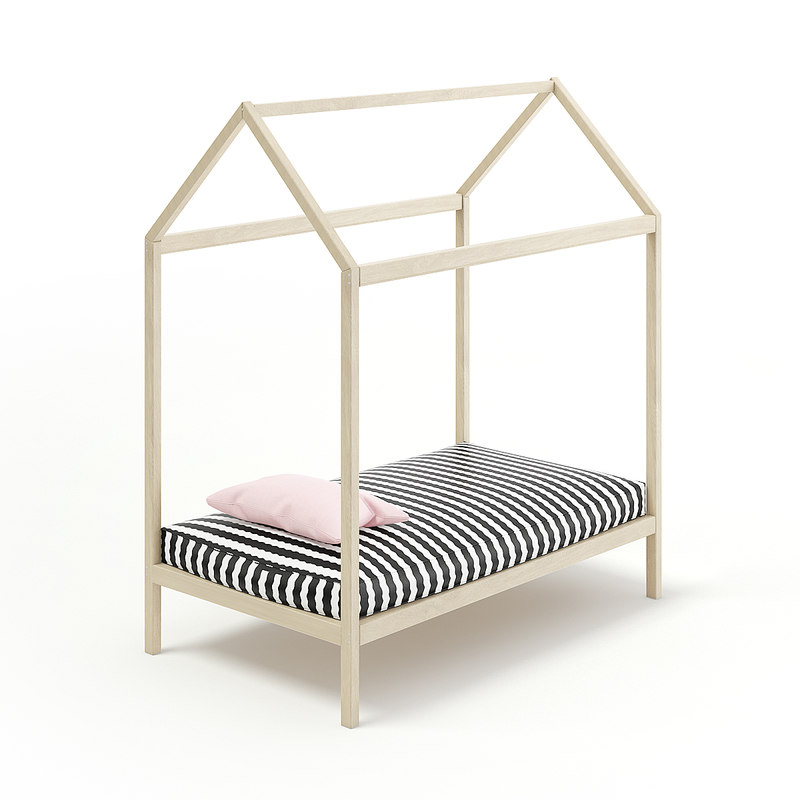 3D model wooden house shape bed