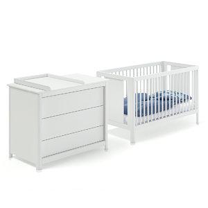white baby bed cabinet 3D model