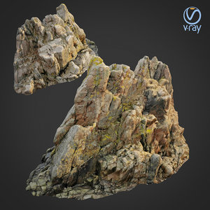 scanned rock cliff h 3D