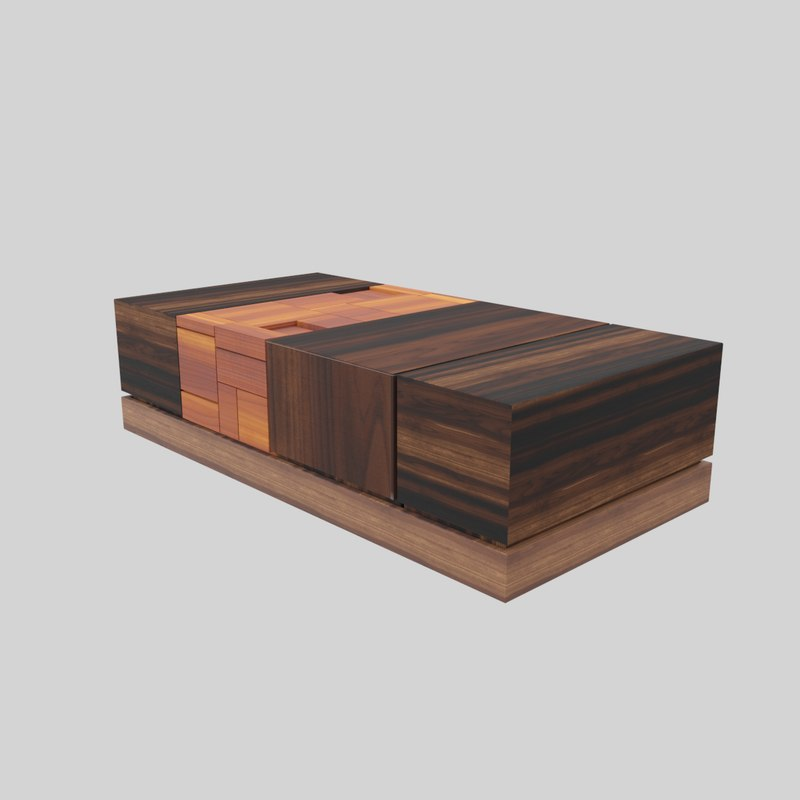 3D walnut coffee table modern
