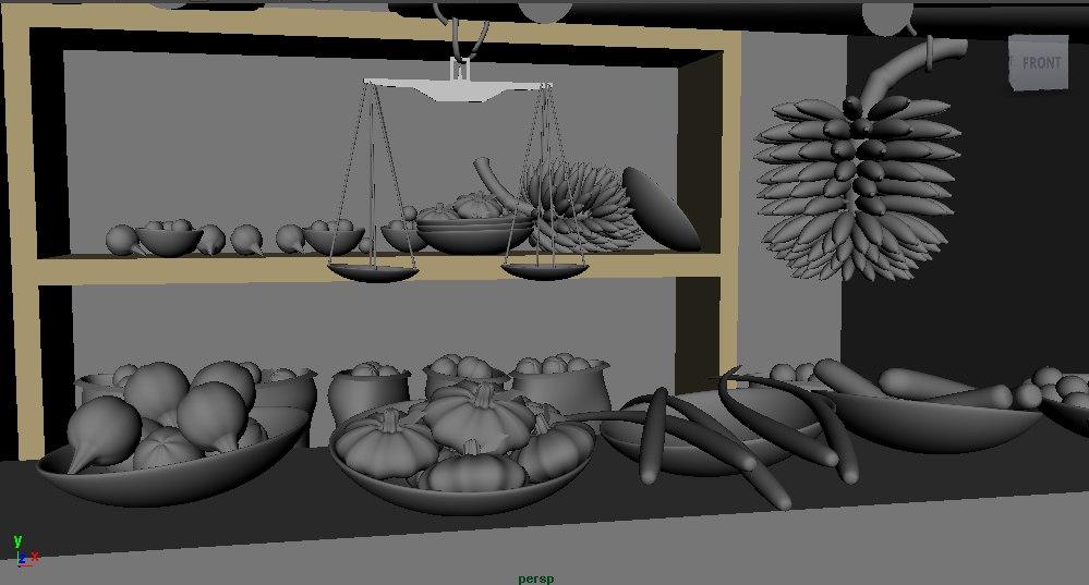3D vegetable shop model