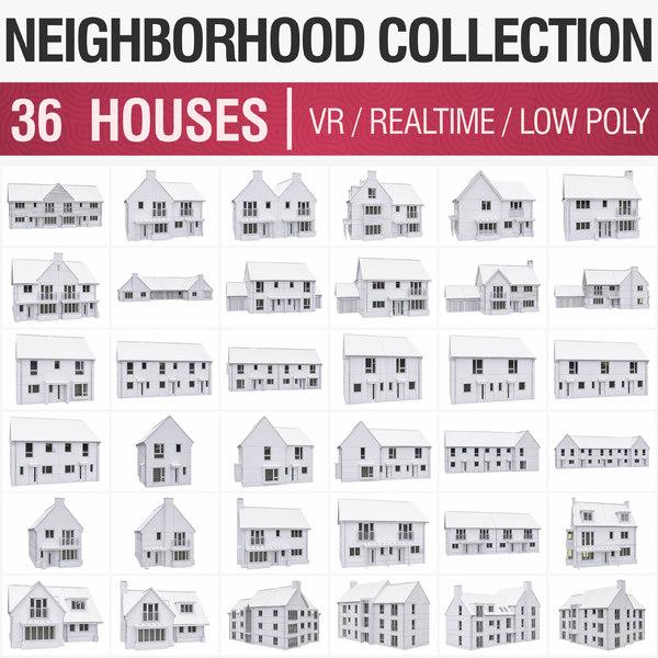 3D 36 houses - model
