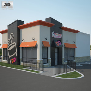 3D dunkin donuts restaurant
