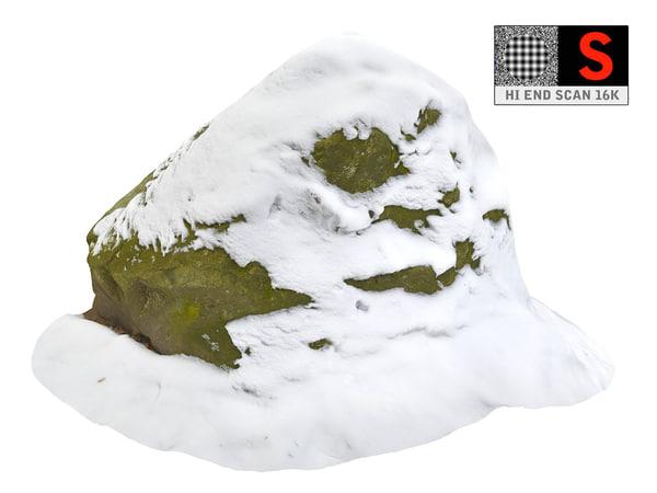 3D model rock snow 16k