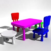 kids chair table 3D model