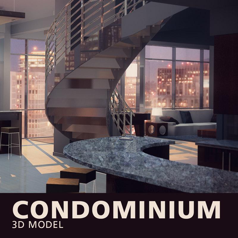 3D model condominium kitchen cabinets