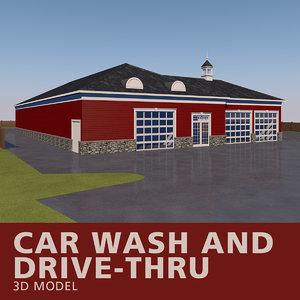 3D car wash drive-thru