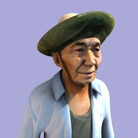 asian old man bee-keeper model