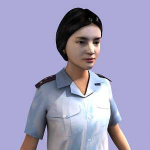 3D woman police officer