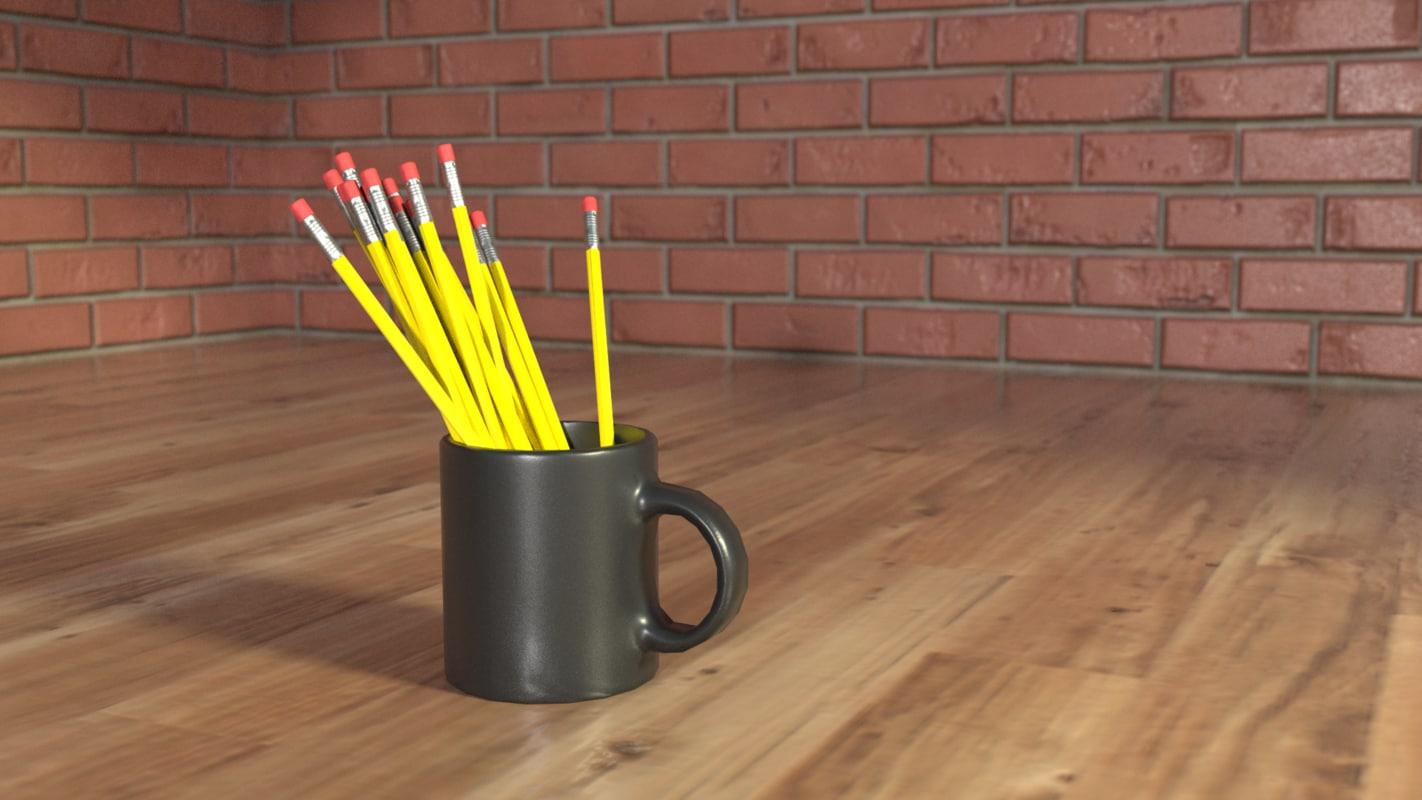 3D simple mug pencil model