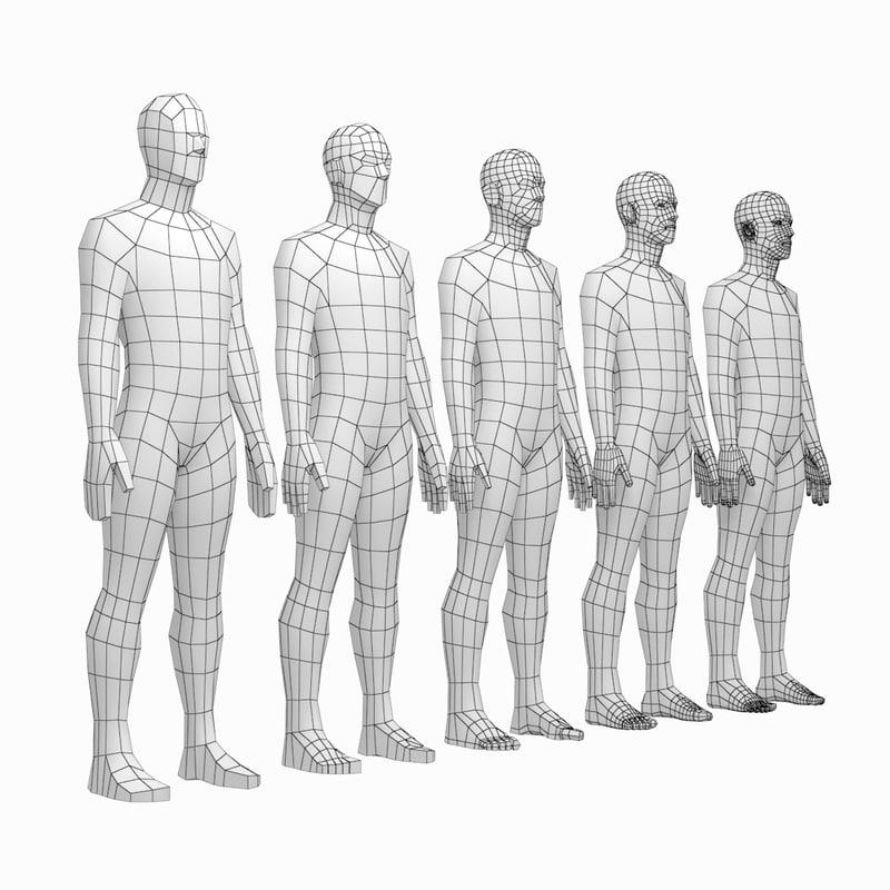 mesh male body based 3D model