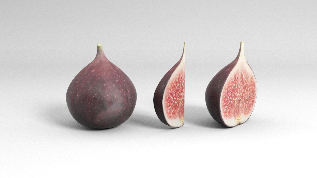 3D fig fruit slice