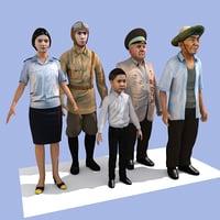 set characters 3D model