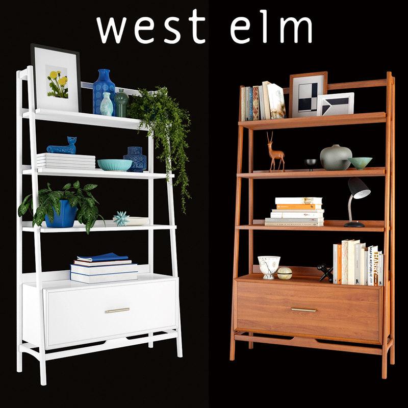 bookshelfs mid-century wide 3D model