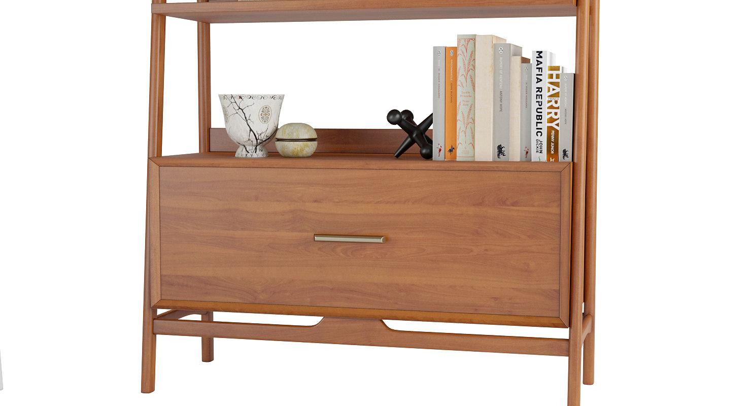 Bookshelfs Mid Century Wide 3D Model