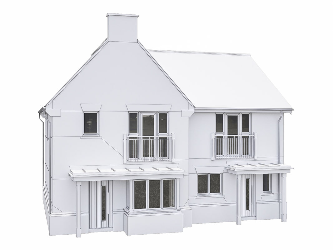 3D model neighborhood house