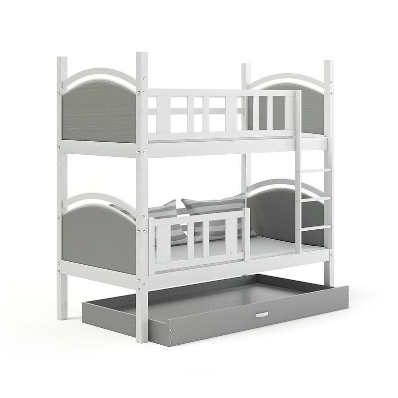 white grey bunk bed 3D model