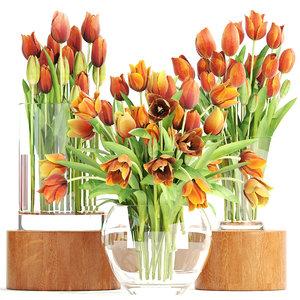 3D bouquet tulips set model