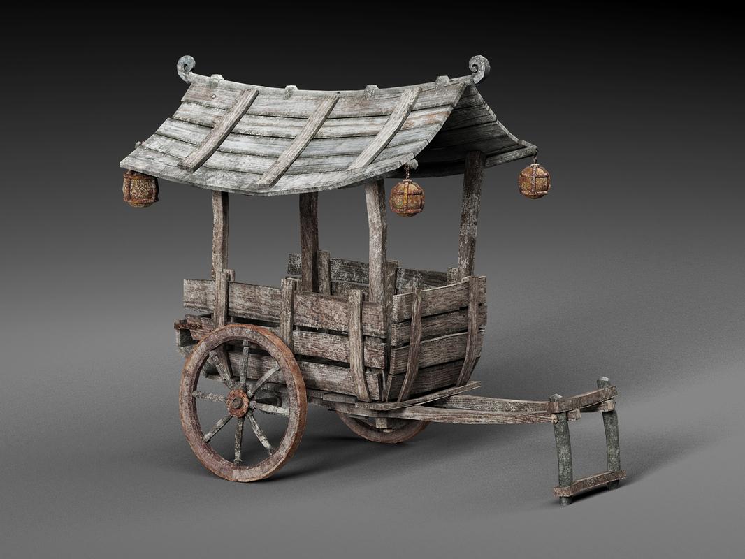 chinese wooden cart 3D model