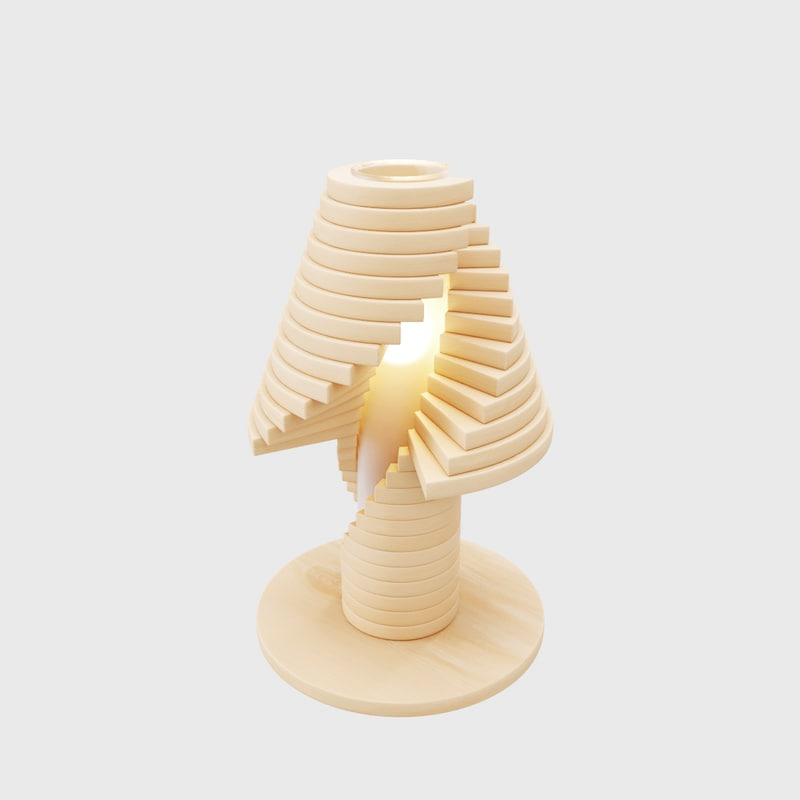 creative wooden table lamp interior 3D model