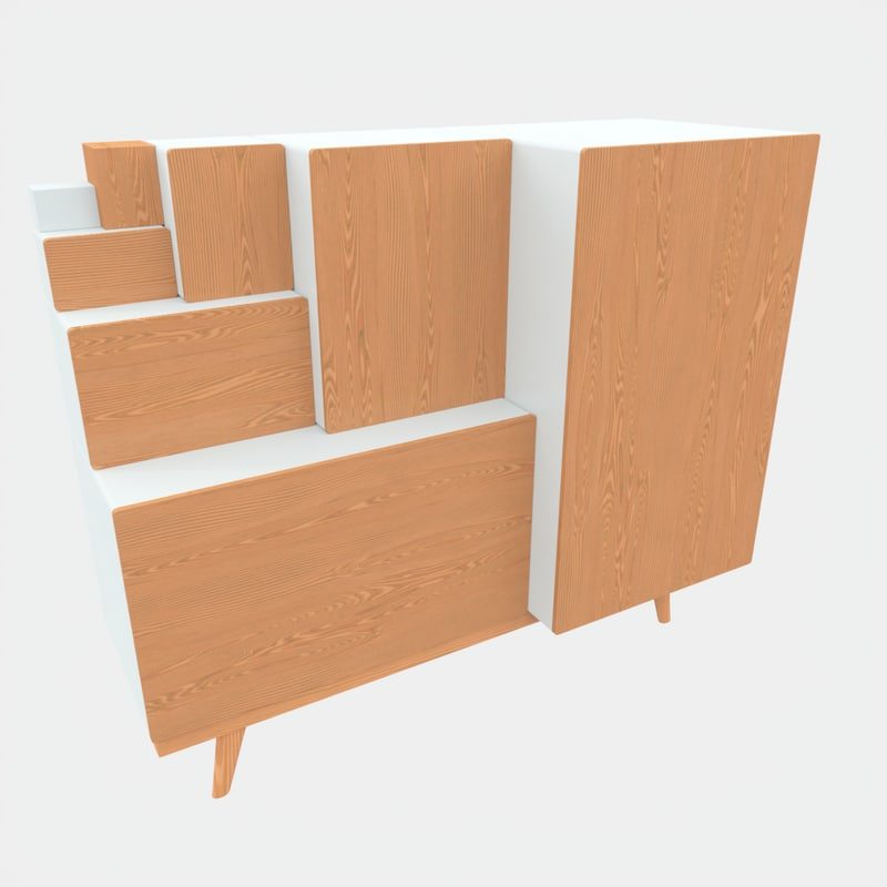 3D japanese step-chest cabinet