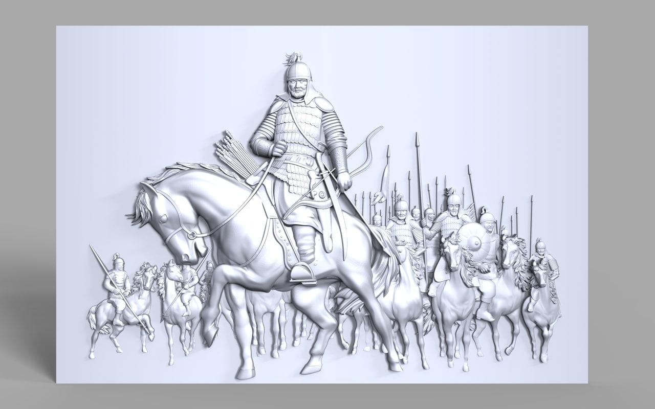 3D model mongolian medieval warriors bas
