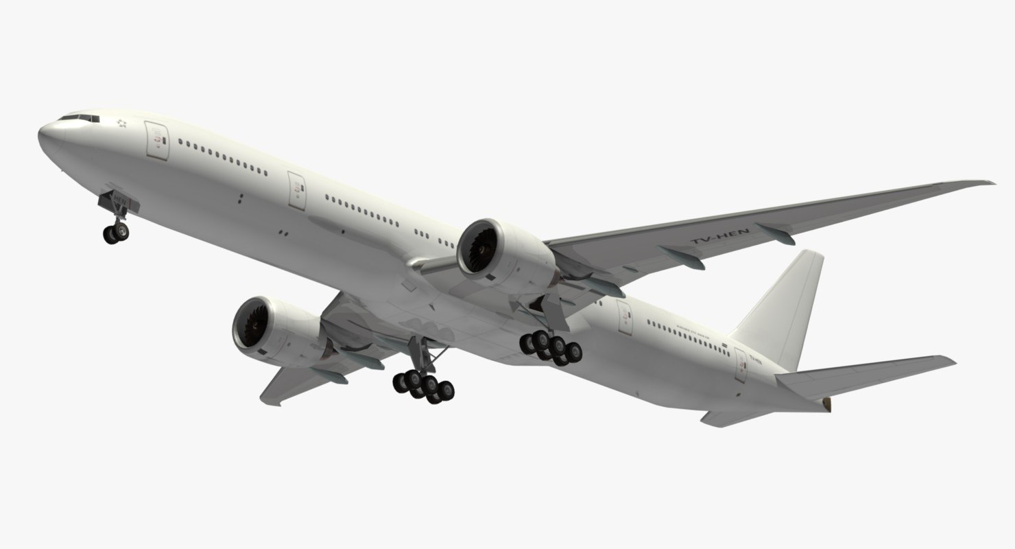 3D boeing 777 white livery