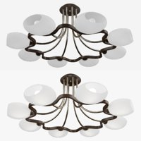 Milk glass chandelier (8 lamp)