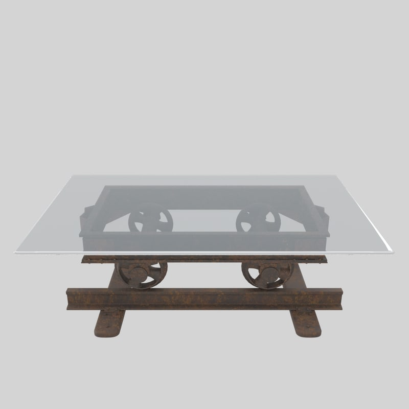 3D railroad cart coffee table model