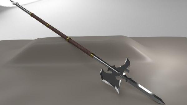 halberd weapon rpg 3D model