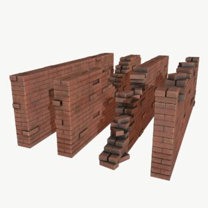 3D brick walls pack pbr model