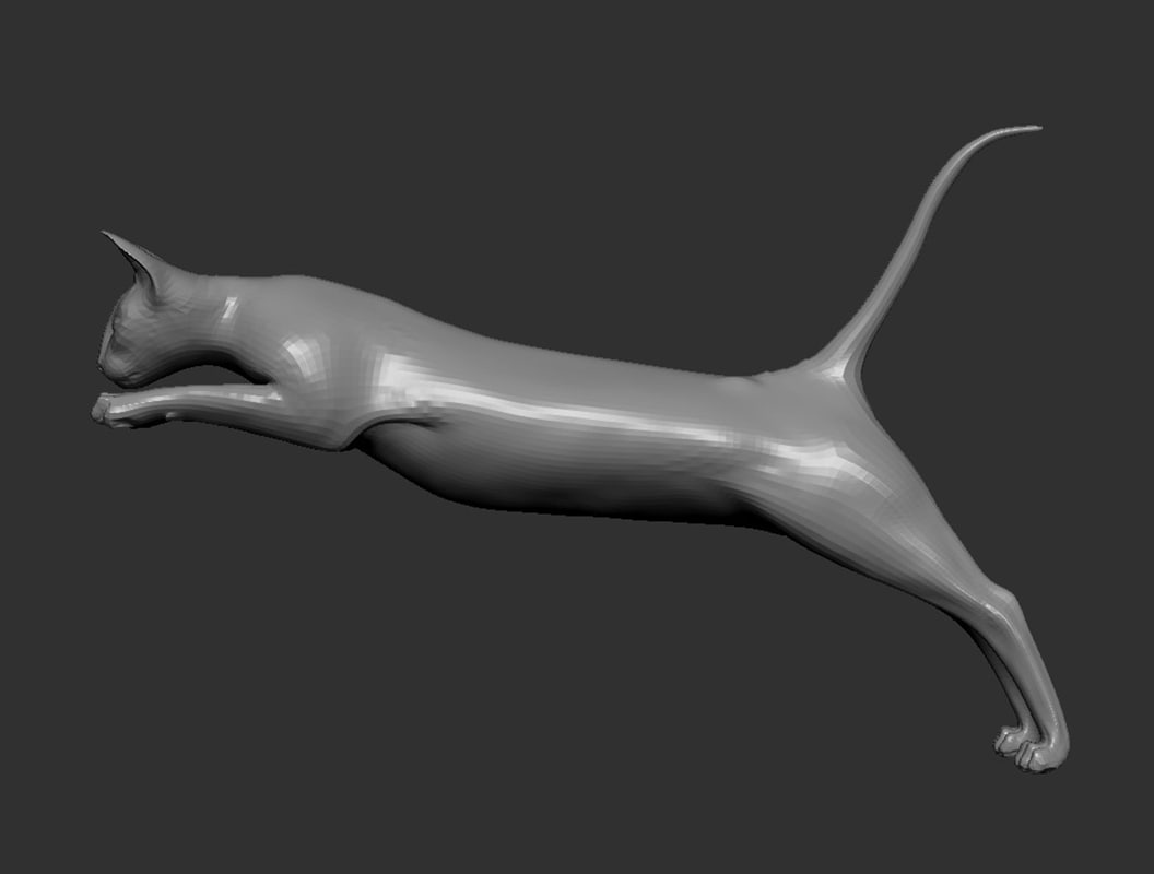 3D model jumping cat