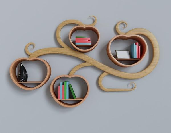 3D wall shelf form plant