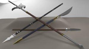 kit 5 pole weapons 3D model