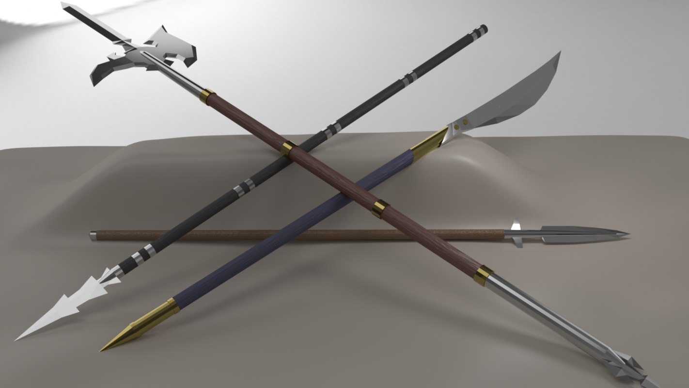 kit 5 pole weapons 3D model