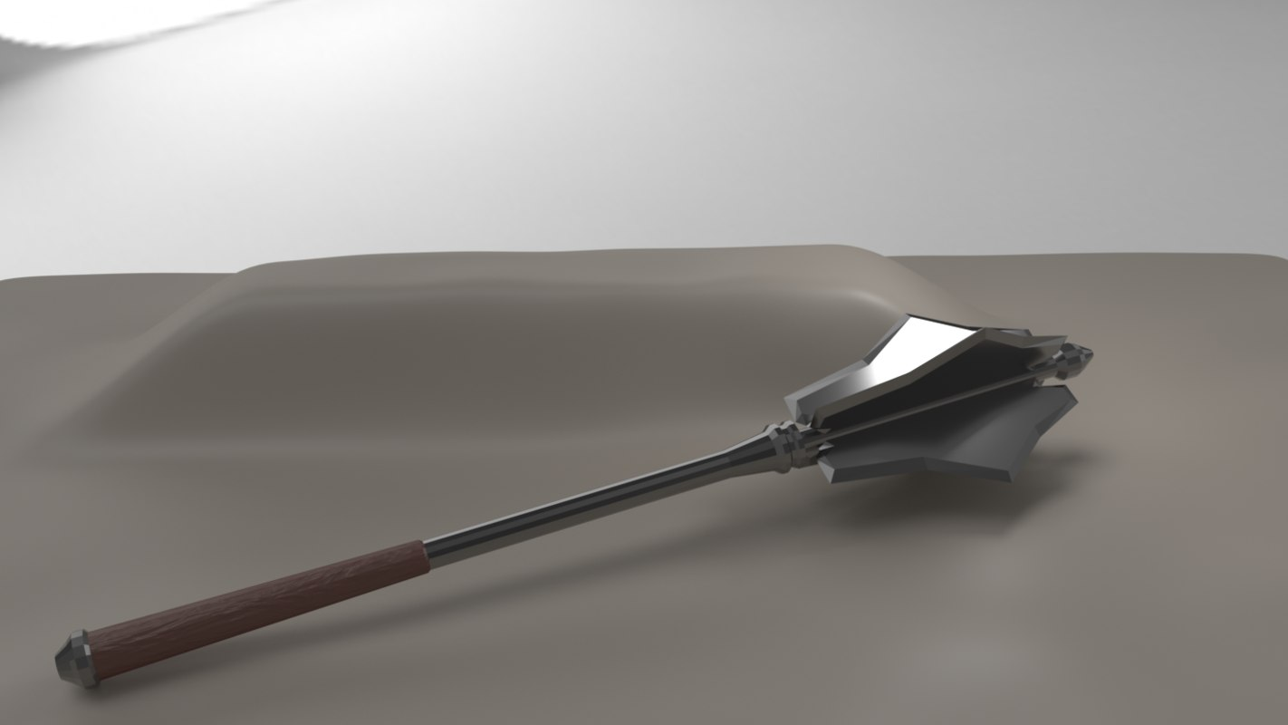 3D flanged mace weapon model