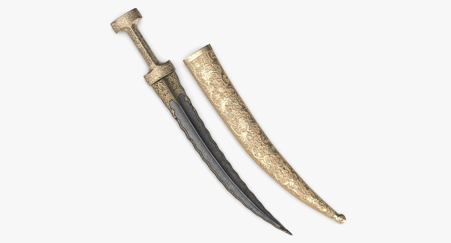 3D dagger ottoman